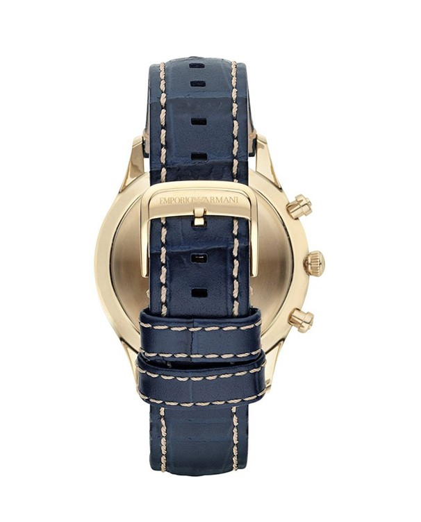 EMPORIO ARMANI Chronograph with Blue Leather Strap Men's Watch