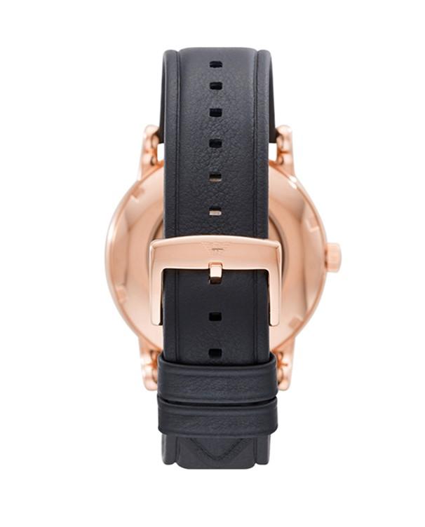 Emporio Armani Luigi Meccanico with Black Leather Strap Men's Watch