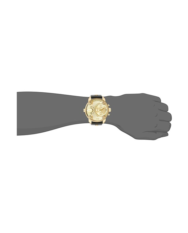 Diesel Little Daddy with Golden Dial & Black Strap Men's Watch