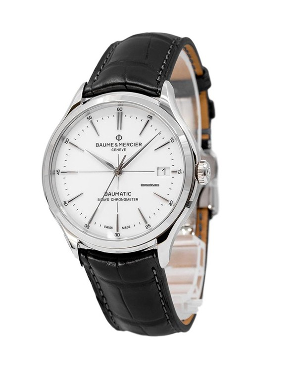 Baume & Mercier Clifton With White Dial & Black Leather