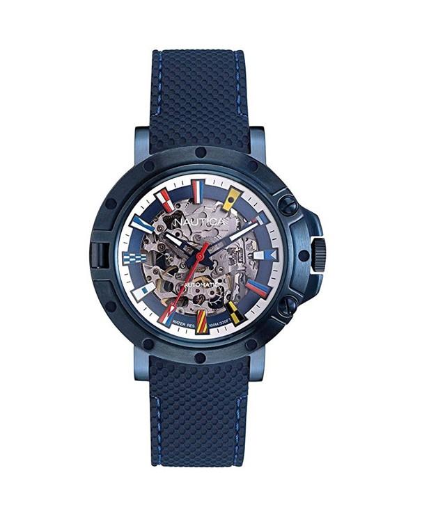 NAUTICA Porthole - Automatic Skeleton with Blue Strap Men's Watch
