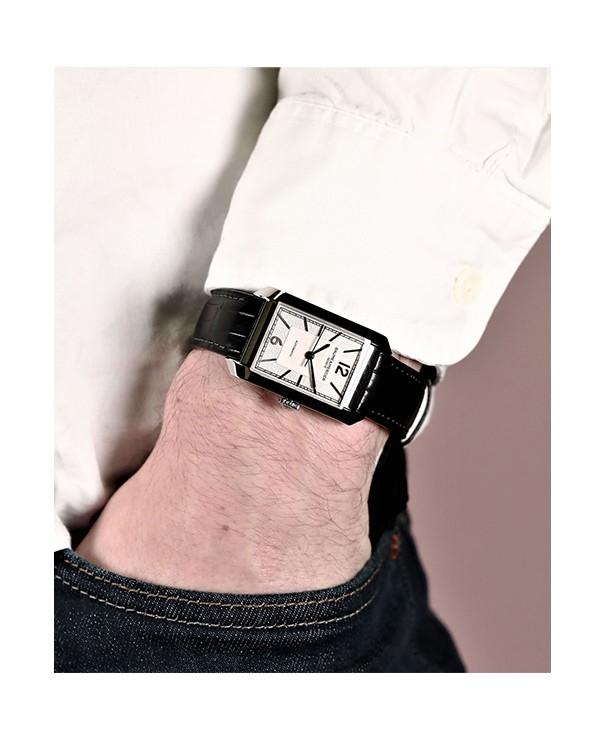 Baume & Mercier Hampton with White Dial & Black Leather Strap Men's Watch