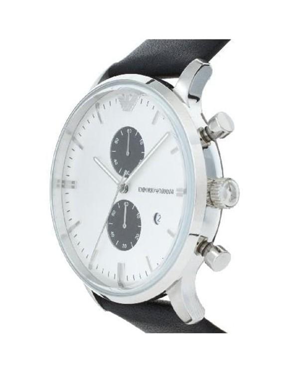 Emporio Armani Classic Chronograph with Black Leather Strap Men's Watch