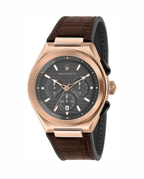 Maserati Triconic with Grey Dial & Brown Leather Strap Men's Watch