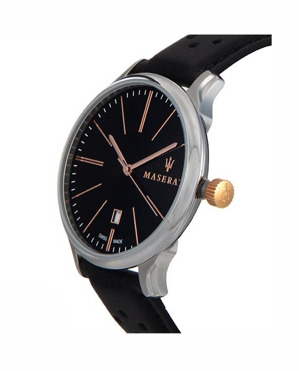 Maserati Attrazione with Black Leather StrapMen's Watch